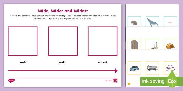 Wide  Wider  Widest Worksheet  Worksheet Teacher Made