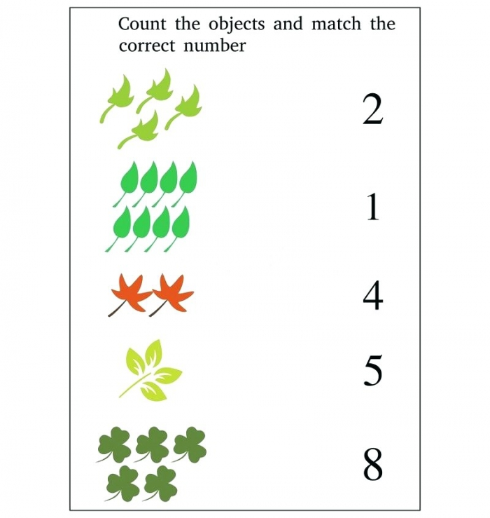 Worksheet Match Numbers Objects Preschool Illustration Count