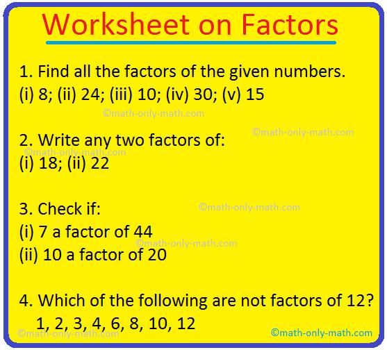 Worksheet On Factors