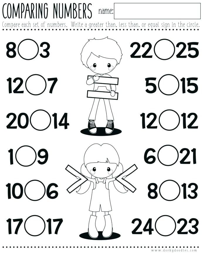 Worksheets Comparing Numbers Printable Kindergarten Math Greater