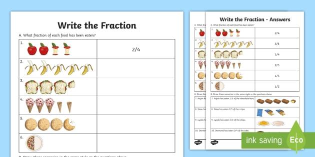 Write The Fraction Worksheet  Worksheet Teacher Made