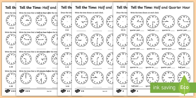 Year  Telling The Time Differentiated Worksheets