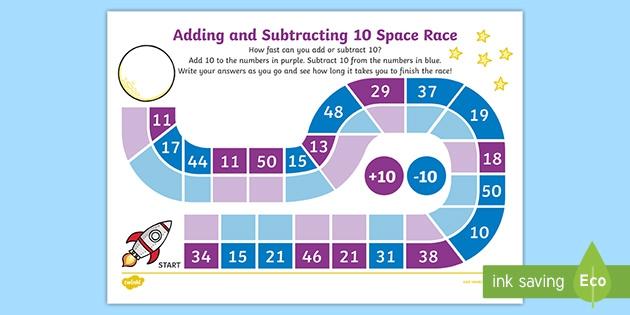 Adding And Subtracting Race Worksheet Worksheet