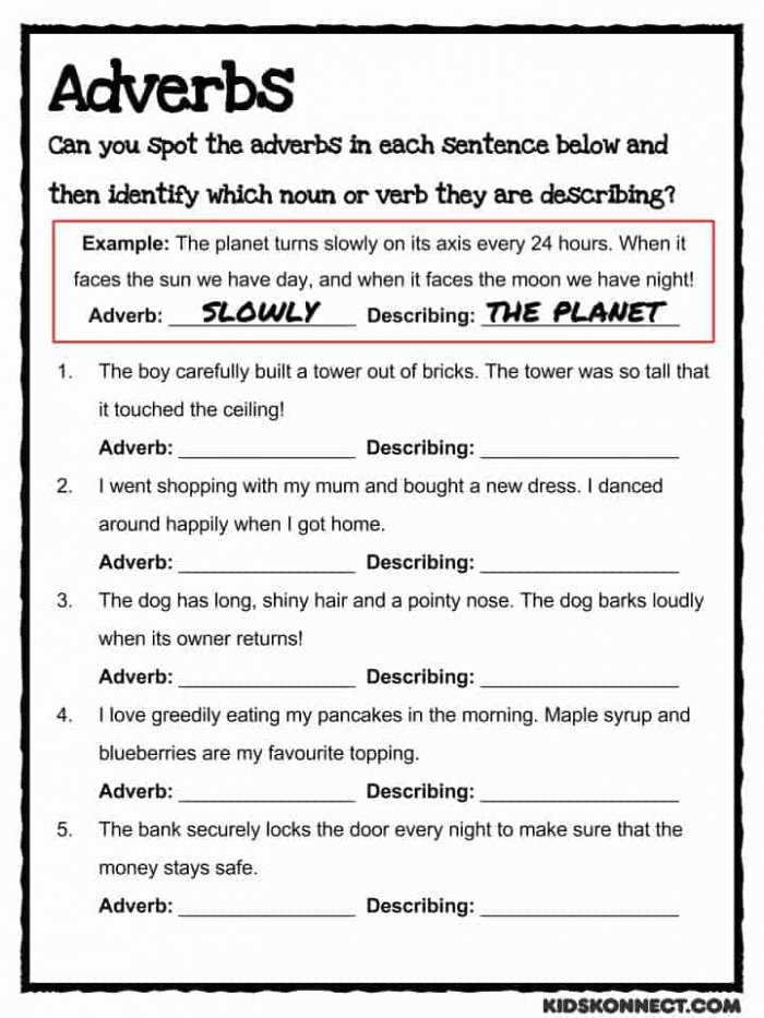 Adverb Study Worksheet Common Core