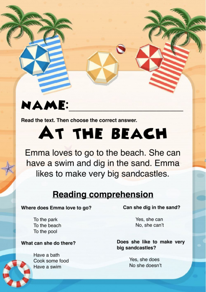 At The Beach Reading Comprehension
