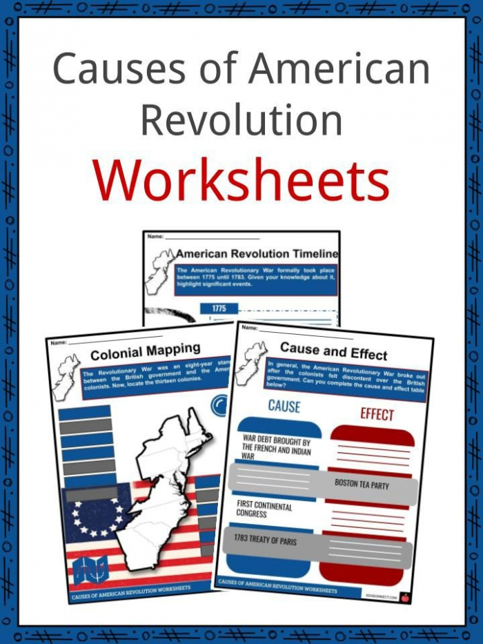 Causes Of The American Revolution Facts   Worksheets For Kids
