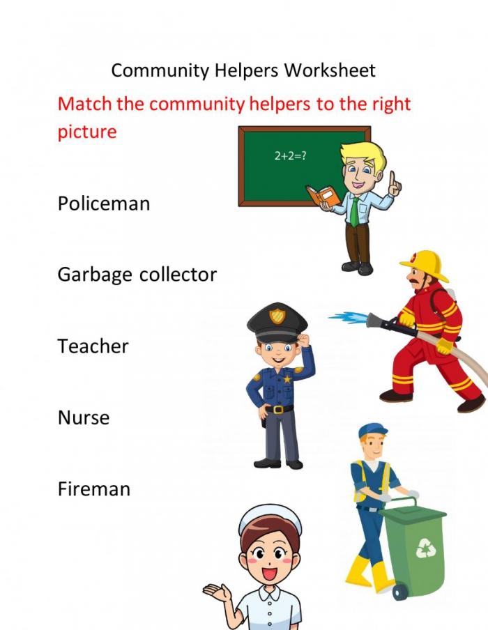 Community Helpers Worksheet For Grade