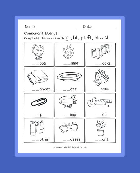 Consonant Blend Sounds With Letter L Free Preschool Worksheets