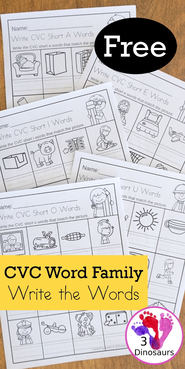 Cvc Word Family Write The Words No