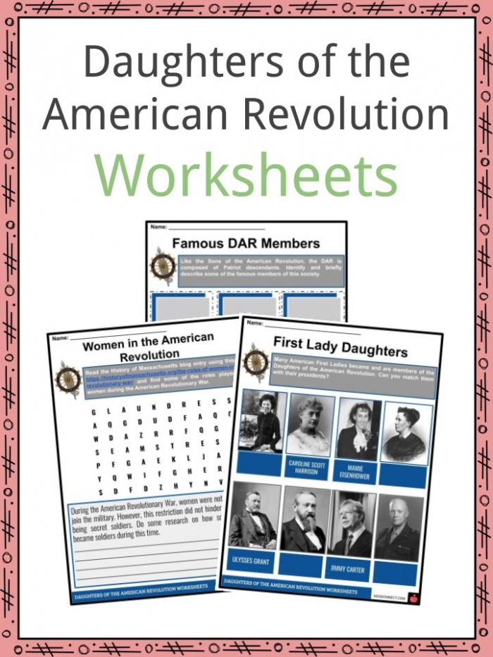 Daughters Of The American Revolution Facts   Worksheets For Kids