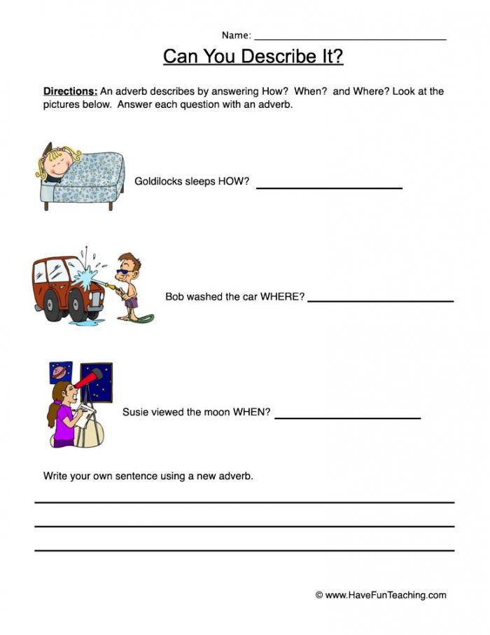 Describe It Using Adverbs Worksheet Have Fun Teaching