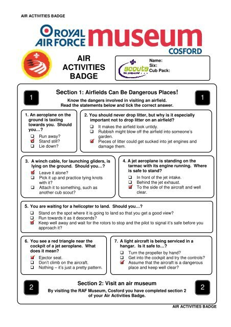 Download Air Activities Badge Worksheet Answers