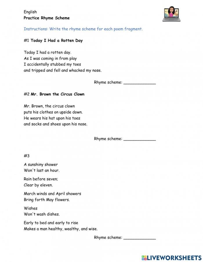 Easy Rhyme Scheme Practice Worksheet