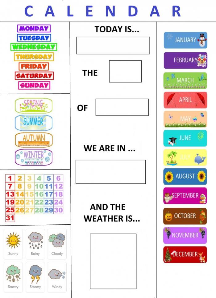 English Calendar Worksheet