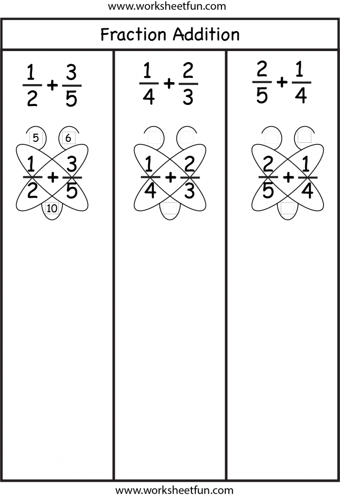 Fraction Addition  Butterfly Method  Free Printable Worksheets