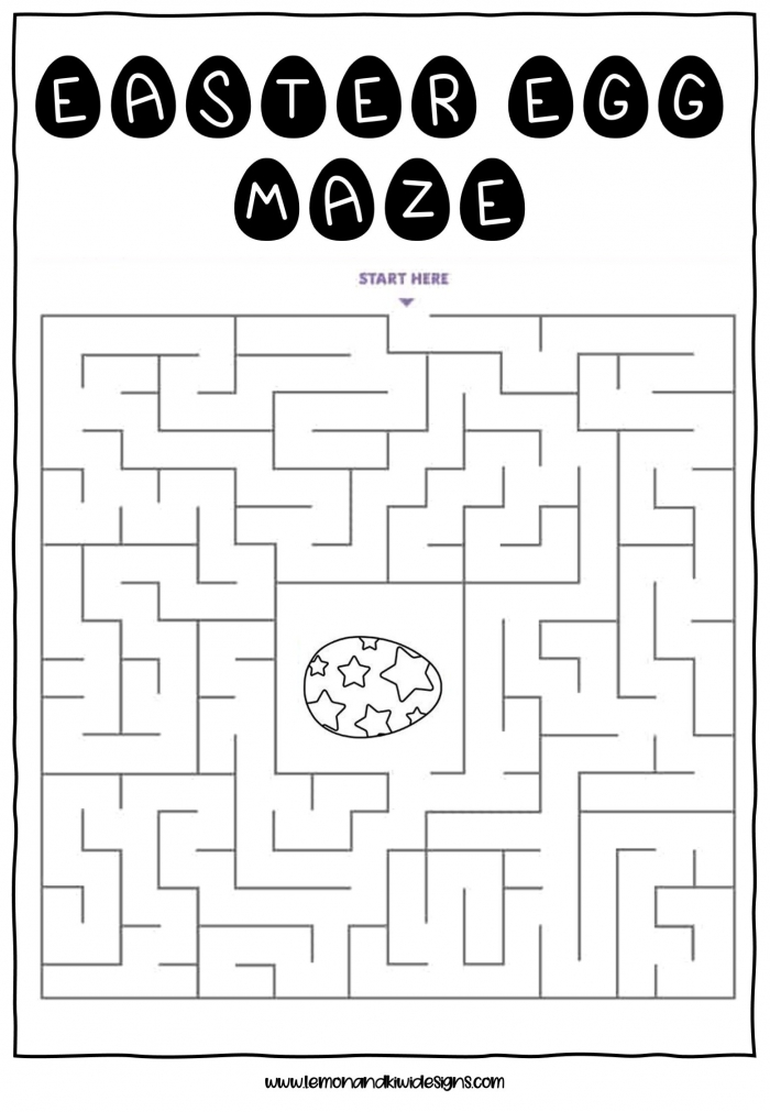 Free Easter Maze Worksheets For Kids  Lemon   Kiwi Designs