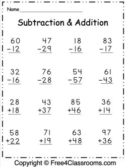 free subtraction and addition worksheets 9