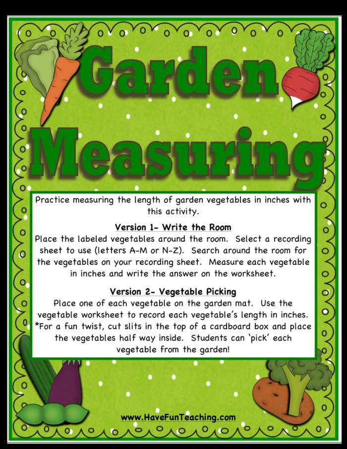 Garden Vegetables Measuring Activity  Have Fun Teaching
