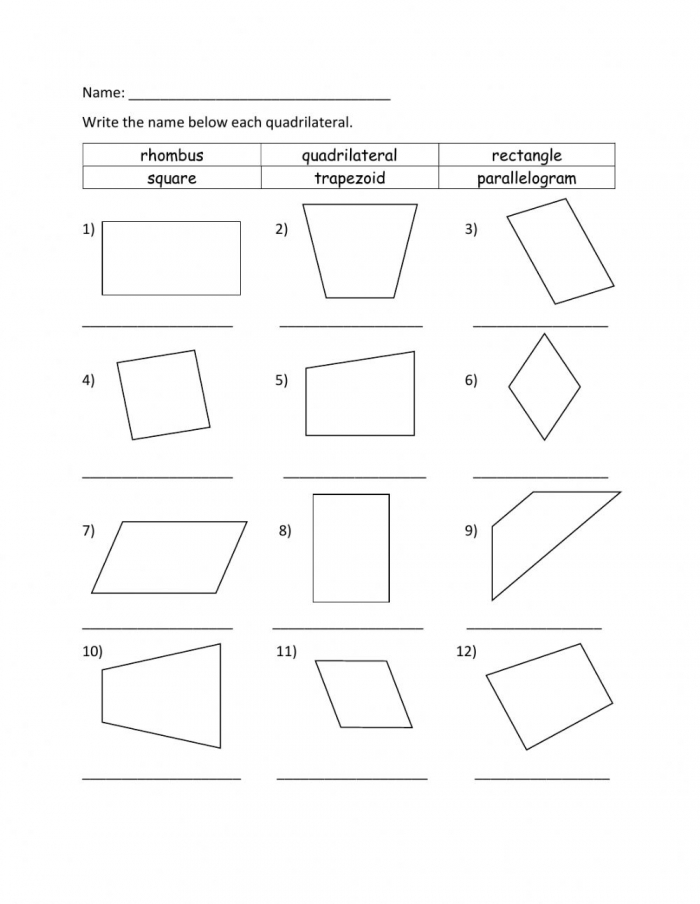 Identifying Quadrilateral Worksheet