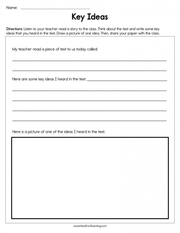 Key Ideas Worksheet  Have Fun Teaching