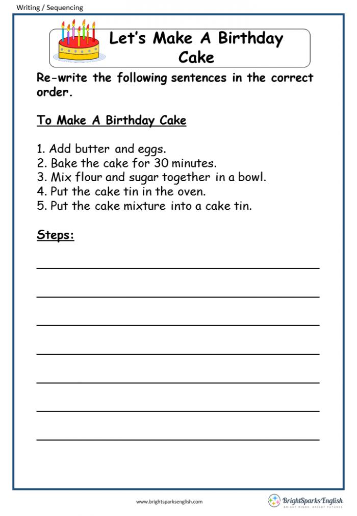 Lets Make A Birthday Cake English Writing Worksheet  English