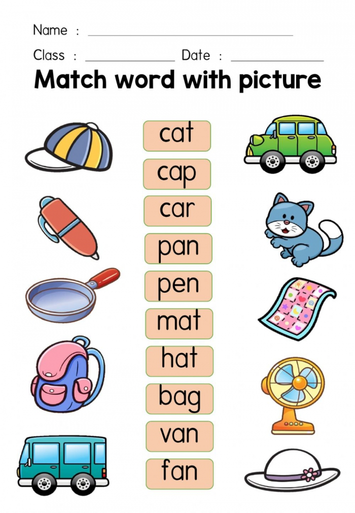 Match Word With Picture Worksheet