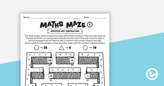 Maths Mazes Addition And Subtraction Teaching Resource