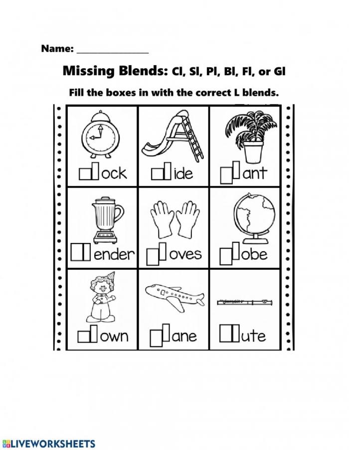 Missing L Blends Worksheet