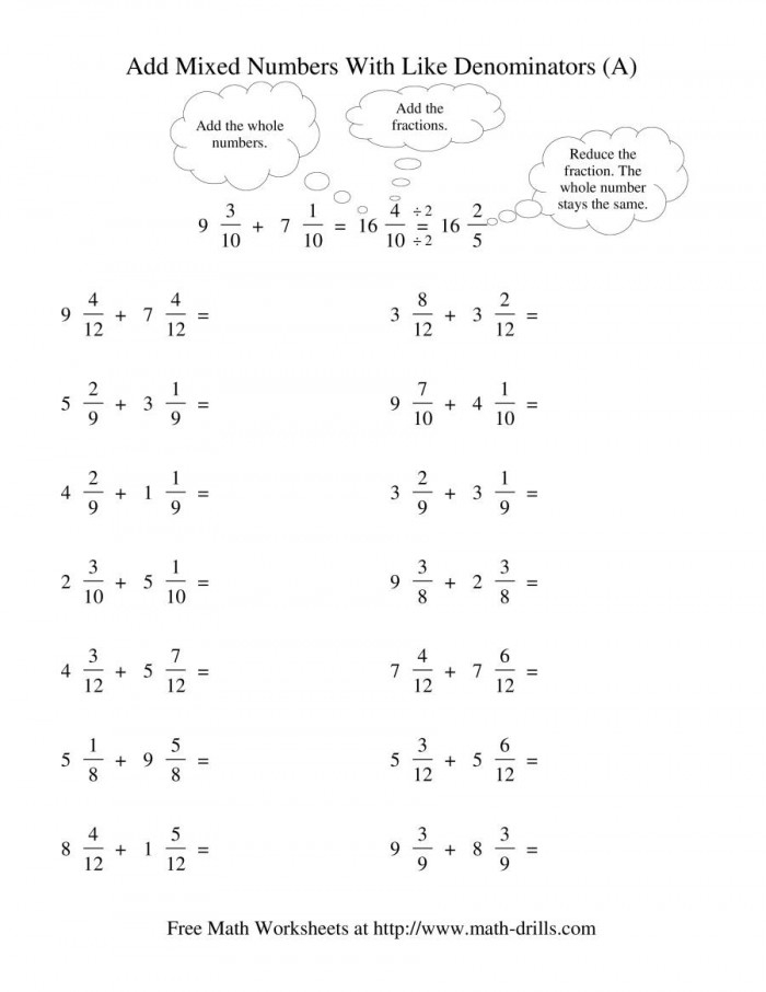 Mixed Fraction Subtraction With Like Denominators No Regrouping