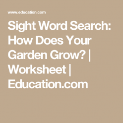 Sight Word Search: How Does Your Garden Grow?