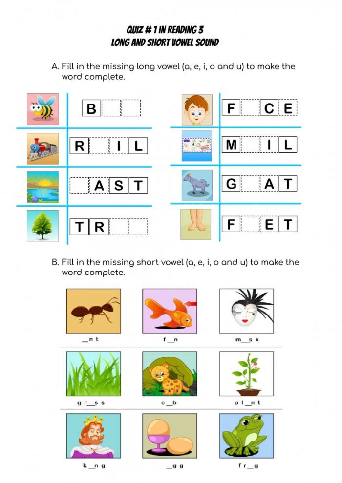 Quiz In Long And Short Vowel Sounds Worksheet