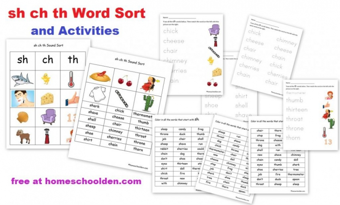 Sh Ch Th Word Sort Activities Free