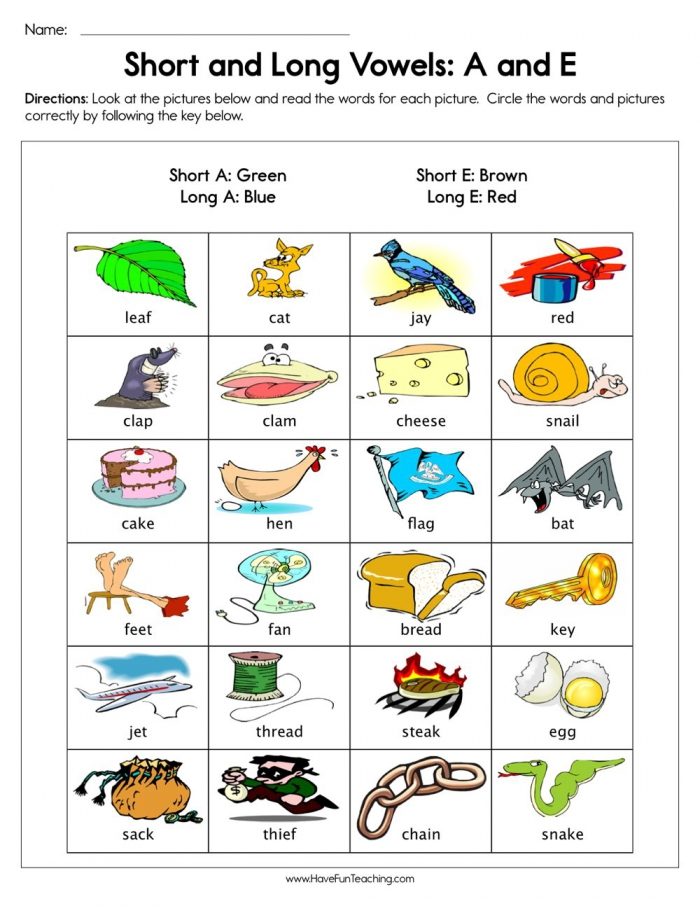 Short And Long Vowels A And E Worksheet  Have Fun Teaching