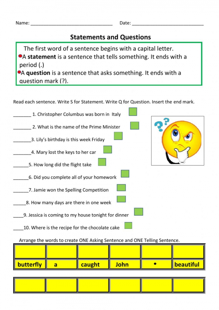 Statement And Question Sentences Worksheet