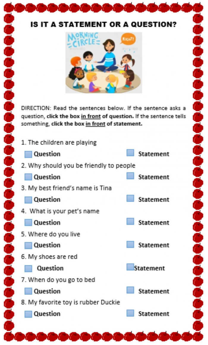Statement Or Question Worksheet