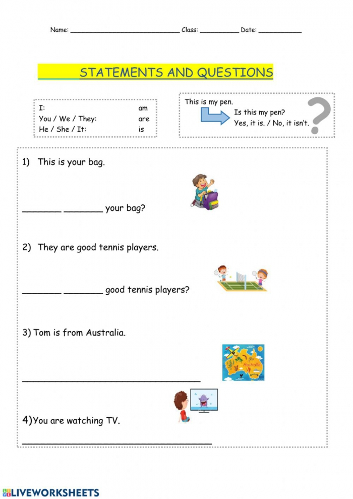 Statements And Questions Worksheet