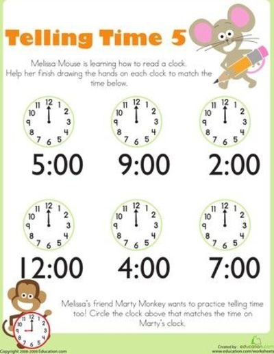 Telling Time With Melissa Mouse Worksheets