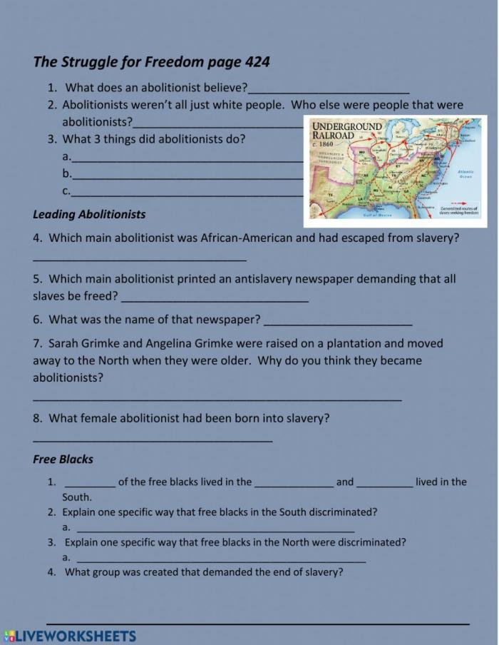 The Underground Railroad Worksheet