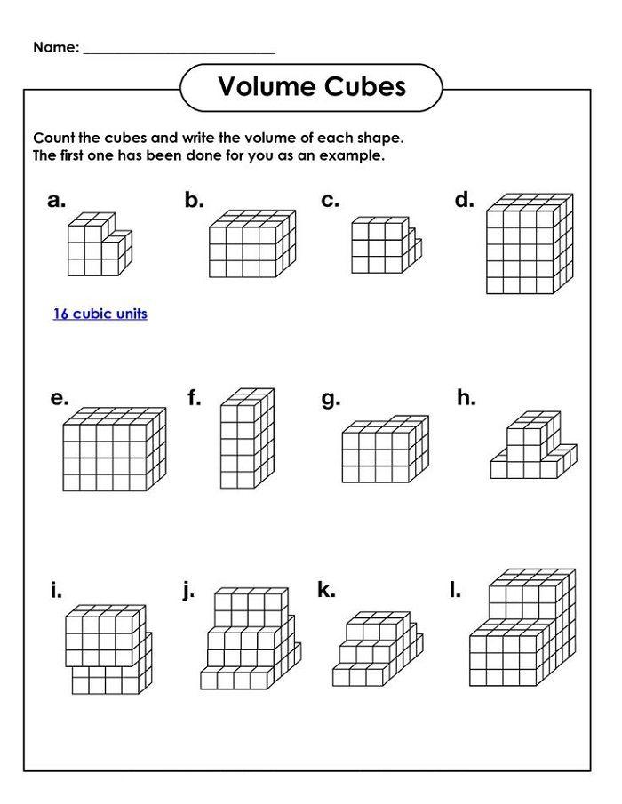 Volume Cubes Worksheets For Kids