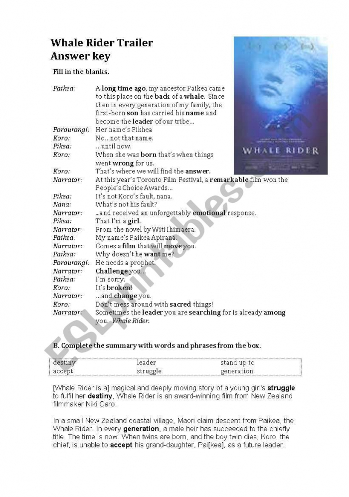 Whale Rider Trailer And Summary