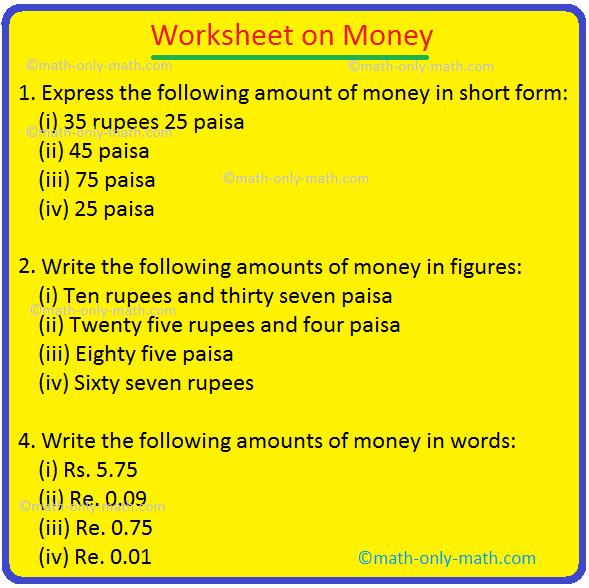 Worksheet On Money