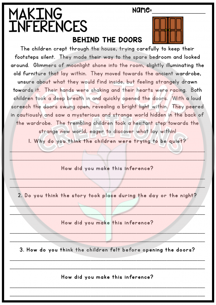 Worksheets To Help Reinforce Making Inferences   Drawing