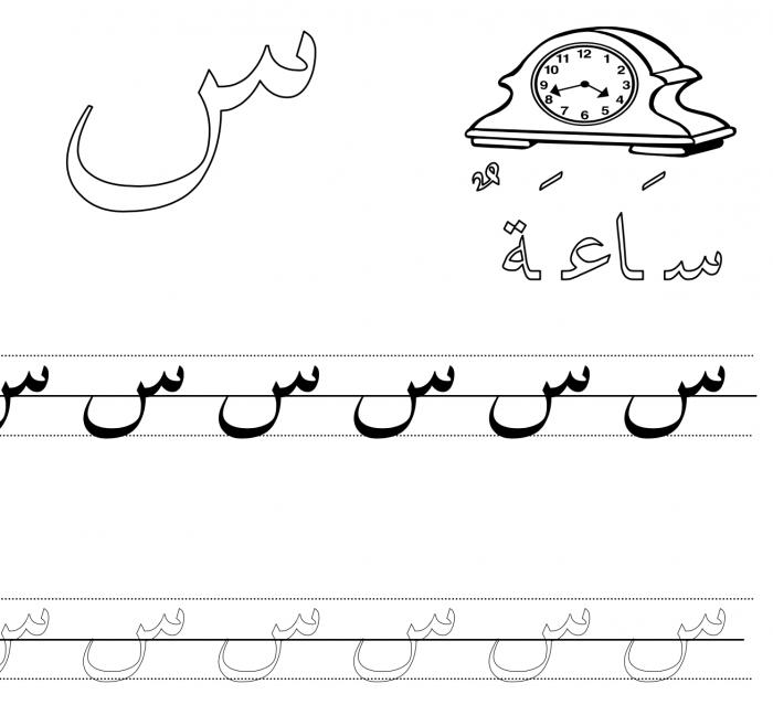 Arabic Handwriting Worksheet Letter Seen