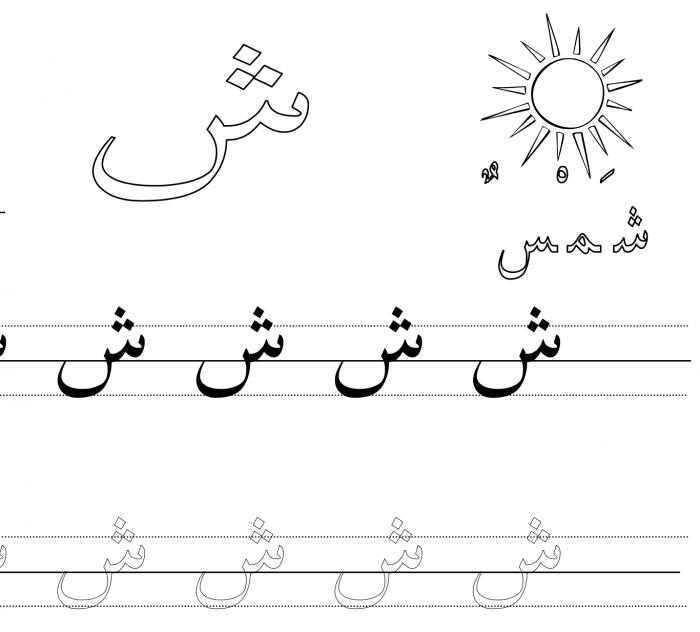 Arabic Handwriting Worksheet Letter Sheen