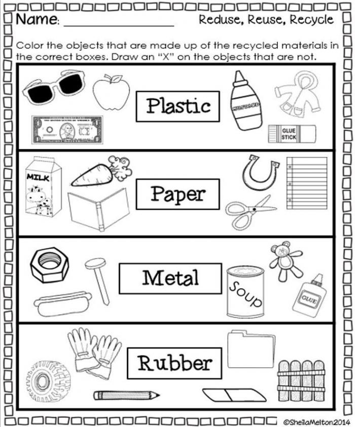 Recycling Worksheets For Kindergarten