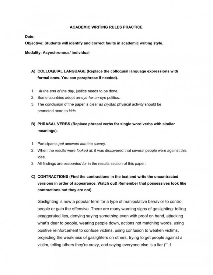Academic Writing Rules Practice Worksheet