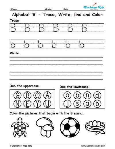 Alphabet Letter B Trace Write Find Color