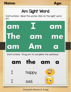 """Write The Sight Words: """"Am"""""""