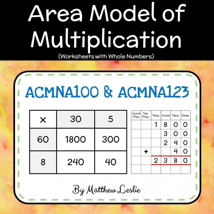 Area Model Of Multiplication Worksheets With Whole Numbers