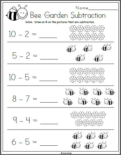 Bee Garden Subtraction Math Worksheet For Kindergarten